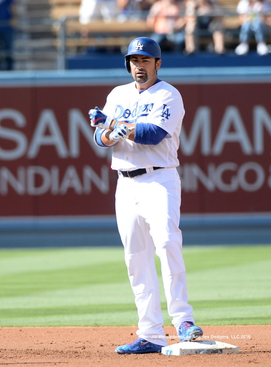 Adrian Gonzalez doubles to left-center. Jill Weisleder/LA Dodgers
