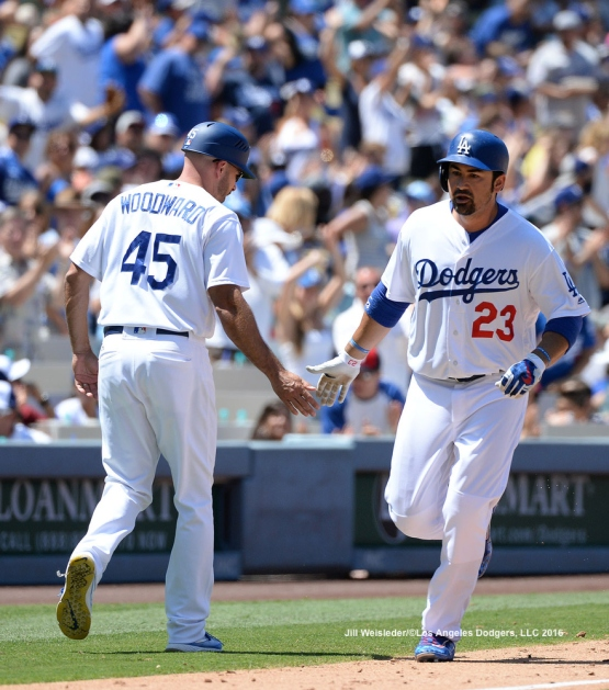 Adrian Gonzalez rounds the bases after getting a solo home run. Jill Weisleder/LA Dodgers
