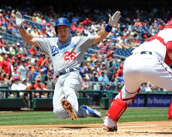 Los Angeles Dodgers Chase Utley scores during game against the Washington Nationals Thursday, July 21, 2016 at Nationals Park in Washington,DC. Photo by Jon SooHoo/©Los Angeles Dodgers,LLC 2016