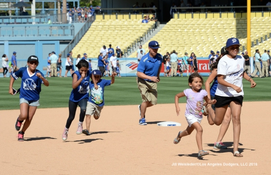 Young fans were able to participate in Kids Run the Bases after the game. Jill Weisleder/Dodgers