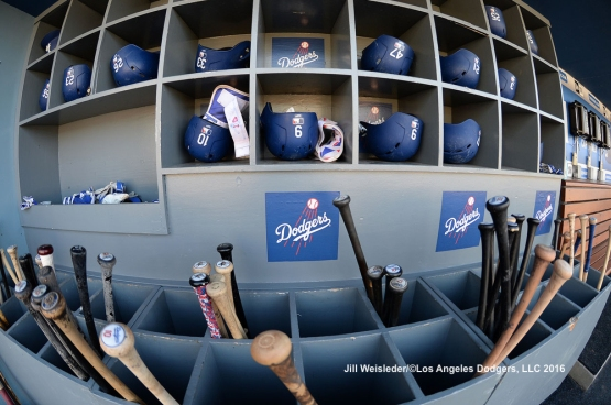 Bats and helmets are in place in the Dodger dugout prior to the start of the game against the Baltimore Orioles. Jill Weisleder/Dodgers