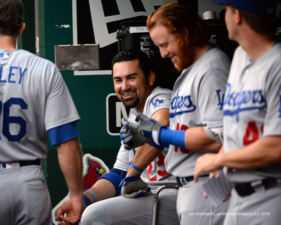 Los Angeles Dodgers Adrian Gonzalez prior to game against the St. Louis Cardinals at Busch Stadium Friday, July 22, 2016 in St.Louis, Missouri.  Photo by Jon SooHoo/©Los Angeles Dodgers,LLC 2016
