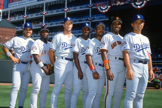Mike Piazza, Tony Gwynn, Todd Worrell, Jose Offerman, Raul Mondesi, Barry Bonds and Hideo Nomo at Arlington Stadium for 1995 All Star game. © Jon SooHoo/Los Angeles Dodgers