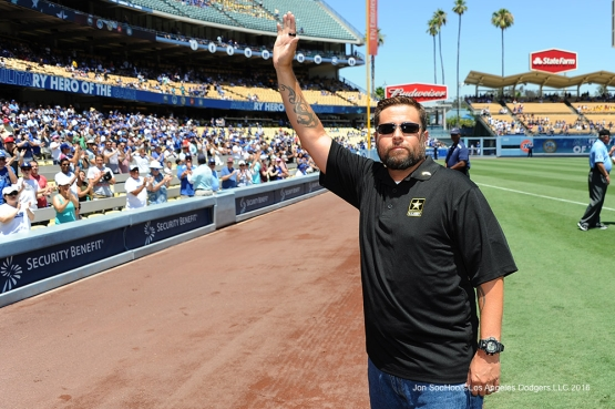 Military Hero of the Game, U.S. Army Sergeant, David Harman waves to the crowd during game against the Tampa Bay Rays Wednesday, July 27,2016 at Dodger Stadium in Los Angeles,California. Photo by Jon SooHoo©Los Angeles Dodgers,LLC 2016
