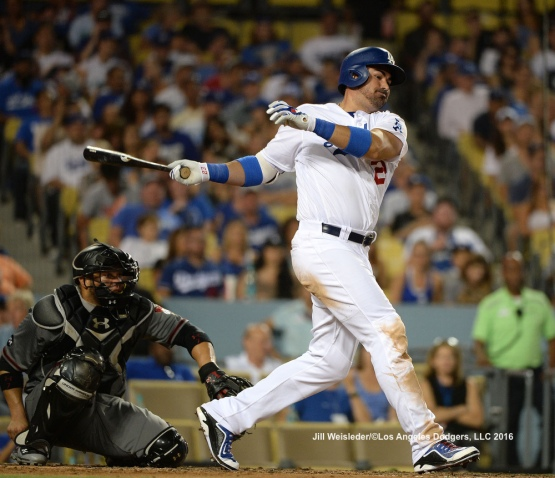 Adrian Gonzalez connects for a single. Jill Weisleder/Dodgers