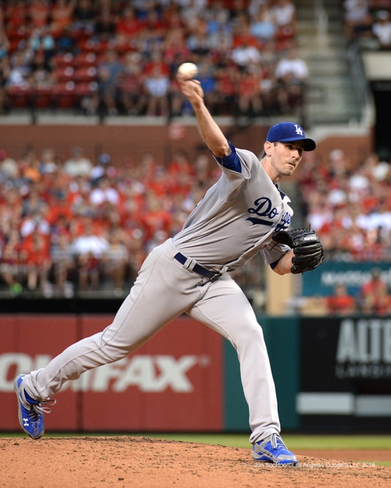 Los Angeles Dodgers Brandon McCarthy during game against the St. Louis Cardinals at Busch Stadium Friday, July 22, 2016 in St.Louis, Missouri.  Photo by Jon SooHoo/©Los Angeles Dodgers,LLC 2016