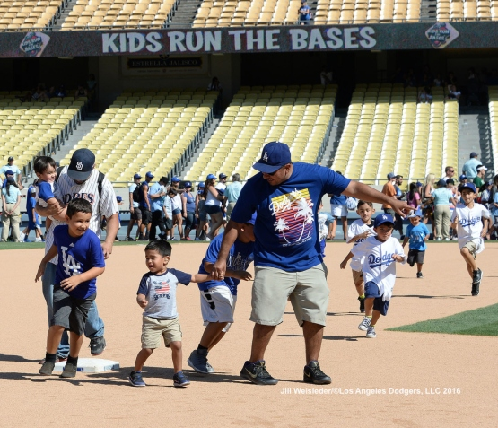 Kids Run the Bases participants enjoy themselves after the game. Jill Weisleder/LA Dodgers