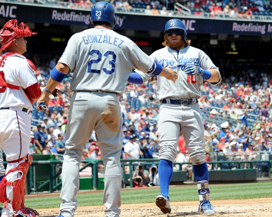 Los Angeles Dodgers Justin Turner hits his second home run  during game against the Washington Nationals Thursday, July 21, 2016 at Nationals Park in Washington,DC. Photo by Jon SooHoo/©Los Angeles Dodgers,LLC 2016