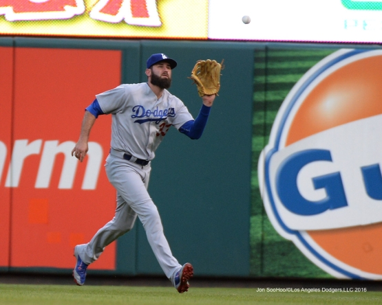 Los Angeles Dodgers Scott Van Slyke during game against the St. Louis Cardinals at Busch Stadium Friday, July 22, 2016 in St.Louis, Missouri.  Photo by Jon SooHoo/©Los Angeles Dodgers,LLC 2016