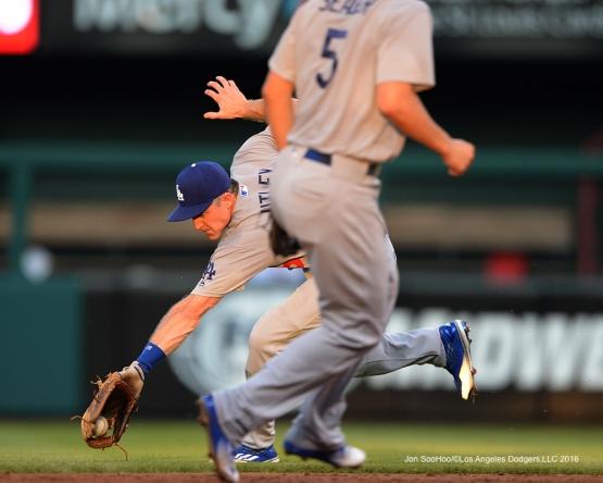 Los Angeles Dodgers Chase Utley fields ball during game against the St. Louis Cardinals at Busch Stadium Sunday, July 24, 2016 in St.Louis, Missouri. Photo by Jon SooHoo/©Los Angeles Dodgers,LLC 2016