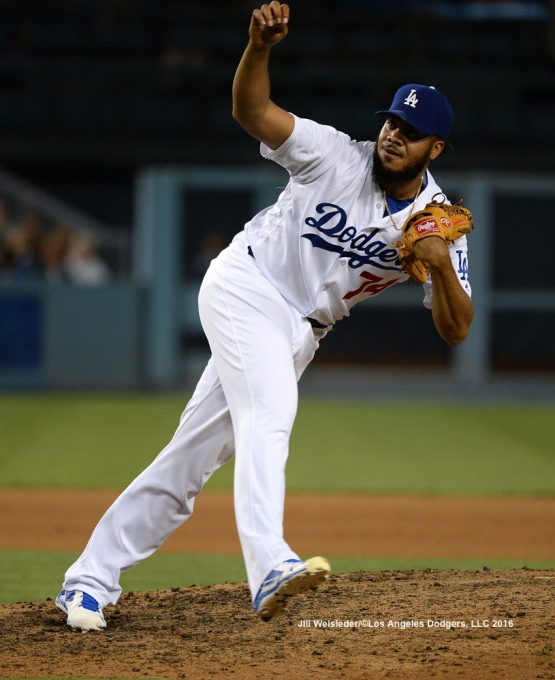 Kenley Jansen delivers a pitch on the mound. Jill Weisleder/Dodgers