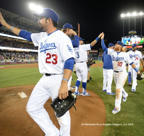 The Dodgers celebrate a win against the Padres 10-6. Jill Weisleder/LA Dodgers