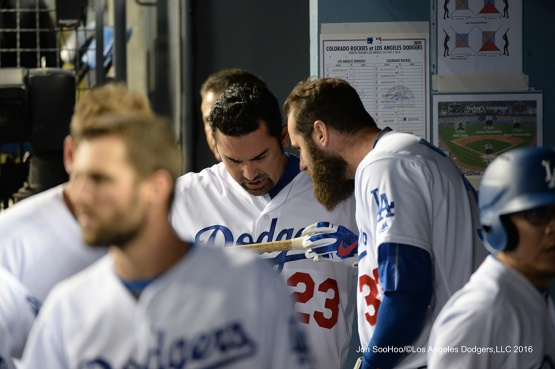 Los Angeles Dodgers during game against the Colorado Rockes Saturday, July 2, 2016 at Dodger Stadium in Los Angeles, California. Photo by Jon SooHoo/©Los Angeles Dodgers,LLC 2016