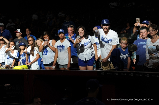 Great Los Angeles Dodger fans prior to game against the Arizona Diamondbacks Friday, July 15, 2016 at Chase Field in Phoenix, Arizona. Photo by Jon SooHoo/©Los Angeles Dodgers,LLC 2016