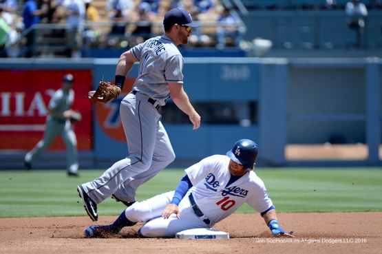 Los Angeles Dodgers Justin Turner slides into second during game against the Tampa Bay Rays Wednesday, July 27,2016 at Dodger Stadium in Los Angeles,California. Photo by Jon SooHoo©Los Angeles Dodgers,LLC 2016