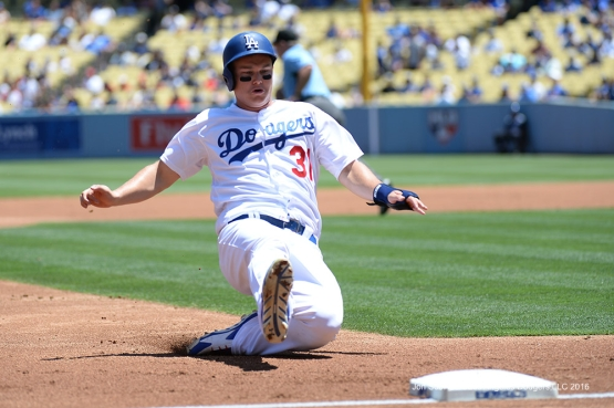 Los Angeles Dodgers Joc Pederson takes third base during game against the Tampa Bay Rays Wednesday, July 27,2016 at Dodger Stadium in Los Angeles,California. Photo by Jon SooHoo©Los Angeles Dodgers,LLC 2016
