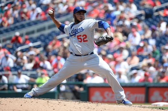 Los Angeles Dodgers Pedro Baez during game against the Washington Nationals Thursday, July 21, 2016 at Nationals Park in Washington,DC. Photo by Jon SooHoo/©Los Angeles Dodgers,LLC 2016