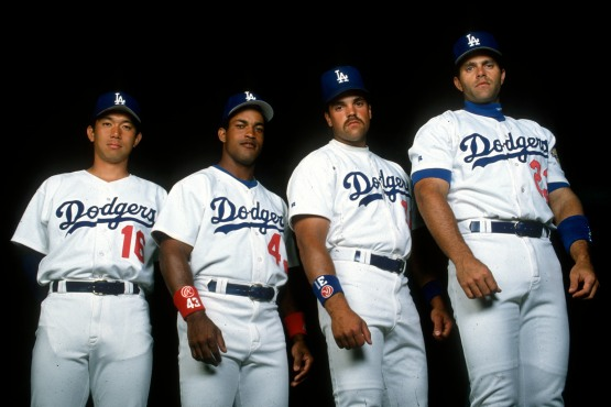 Hideo Nomo, Raul Mondesi, Mike Piazza and Eric Karros © Jon SooHoo/Los Angeles Dodgers