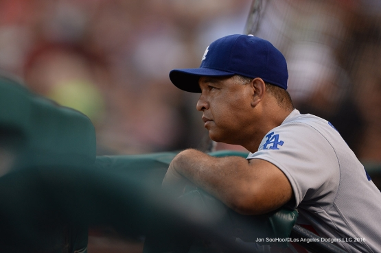 Los Angeles Dodgers Dave Roberts during game against the St. Louis Cardinals at Busch Stadium Sunday, July 24, 2016 in St.Louis, Missouri. Photo by Jon SooHoo/©Los Angeles Dodgers,LLC 2016