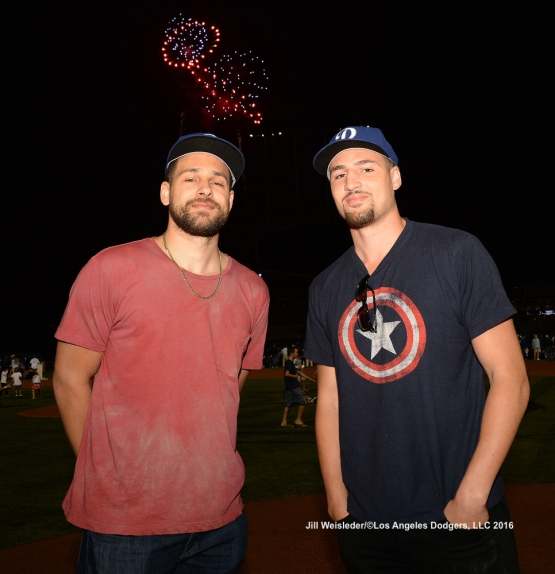 Mychel and Klay Thompson take in the fireworks being displayed after the game. Jill Weisleder/Dodgers