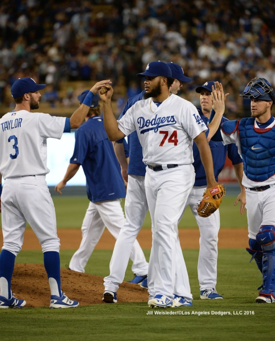Kenley Jansen celebrates a win with Dodger teammates. Jill Weisleder/Dodgers