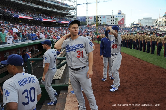 Los Angeles Dodgers prior to game against the Washington Nationals Wednesday, July 20, 2016 at Nationals Park in Washington,DC. Photo by Jon SooHoo/©Los Angeles Dodgers,LLC 2016