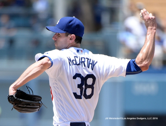 Newley reinstated pitcher Brandon McCarthy throws on the mound today against the Colorado Rockies. Jill Weisleder/Dodgers