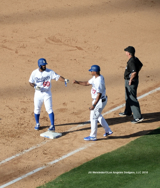 Andrew Toles gets on first base on a single. Jill Weisleder/LA Dodgers