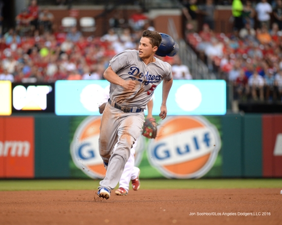 Los Angeles Dodgers Corey Seager takes third during game against the St. Louis Cardinals at Busch Stadium Friday, July 22, 2016 in St.Louis, Missouri.  Photo by Jon SooHoo/©Los Angeles Dodgers,LLC 2016