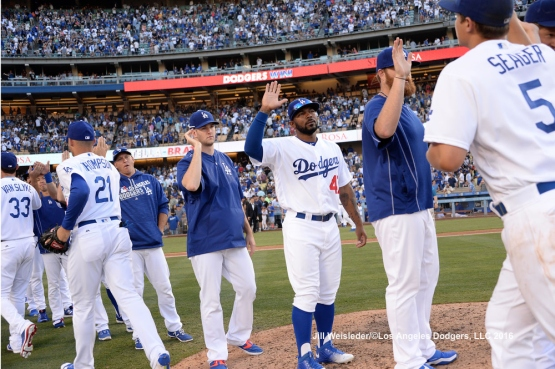 The Dodgers celebrate a 4-3 win against the Padres. Jill Weisleder/LA Dodgers
