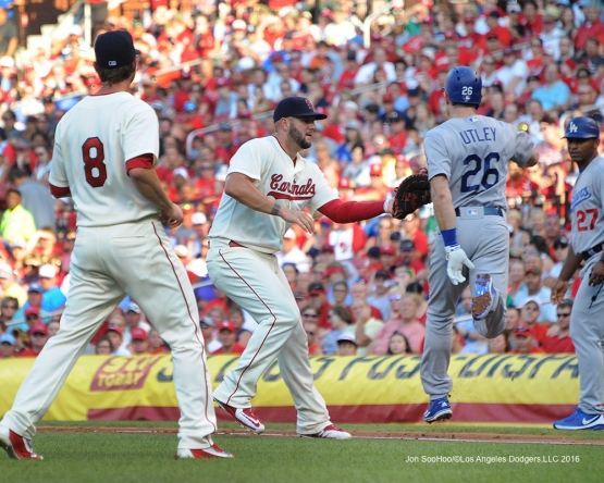 Los Angeles Dodgers Chase Utley  during game against the St. Louis Cardinals at Busch Stadium Saturday, July 23, 2016 in St.Louis, Missouri.  Photo by Jon SooHoo/©Los Angeles Dodgers,LLC 2016