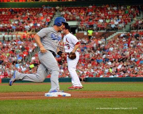 Los Angeles Dodgers Joc Pederson scores during game against the St. Louis Cardinals at Busch Stadium Sunday, July 24, 2016 in St.Louis, Missouri. Photo by Jon SooHoo/©Los Angeles Dodgers,LLC 2016