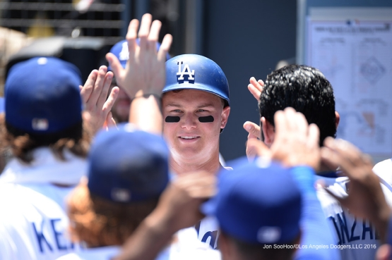 Los Angeles Dodgers Joc Pederson in the dugout after scoring against the Tampa Bay Rays Wednesday, July 27,2016 at Dodger Stadium in Los Angeles,California. Photo by Jon SooHoo©Los Angeles Dodgers,LLC 2016