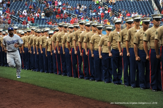 Los Angeles Dodgers Howie Kendrick and Marines prior to game against the Washington Nationals Wednesday, July 20, 2016 at Nationals Park in Washington,DC. Photo by Jon SooHoo/©Los Angeles Dodgers,LLC 2016