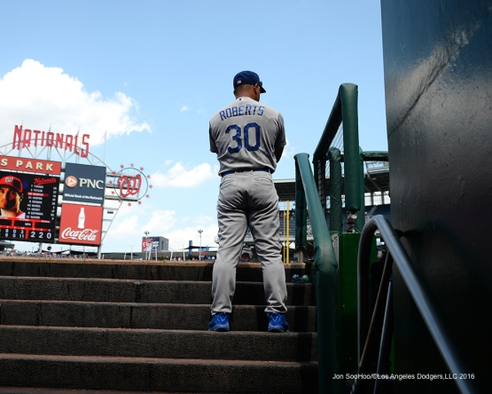 Los Angeles Dodgers Dave Roberts during game against the Washington Nationals Thursday, July 21, 2016 at Nationals Park in Washington,DC. Photo by Jon SooHoo/©Los Angeles Dodgers,LLC 2016