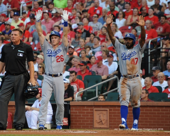 Los Angeles Dodgers Joc Pederson scores standing up during game against the St. Louis Cardinals at Busch Stadium Sunday, July 24, 2016 in St.Louis, Missouri. Photo by Jon SooHoo/©Los Angeles Dodgers,LLC 2016