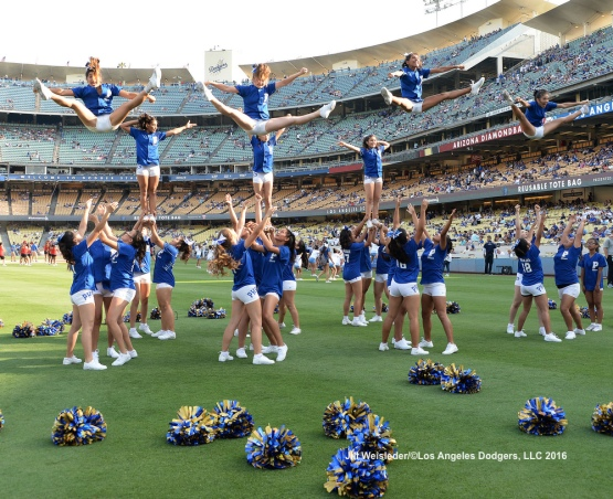 The Los Angeles Dodgers host Cheer Night at Dodger Stadium prior to the game against the Arizona Diamondbacks. Jill Weisleder/Dodgers