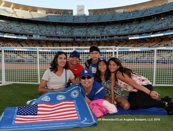 Dodger fans get ready to watch a movie on the field after the game. Jill Weisleder/LA Dodgers