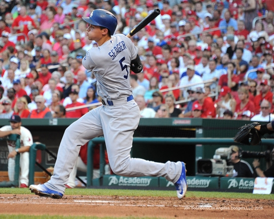 Los Angeles Dodgers Corey Seager during game against the St. Louis Cardinals at Busch Stadium Saturday, July 23, 2016 in St.Louis, Missouri.  Photo by Jon SooHoo/©Los Angeles Dodgers,LLC 2016