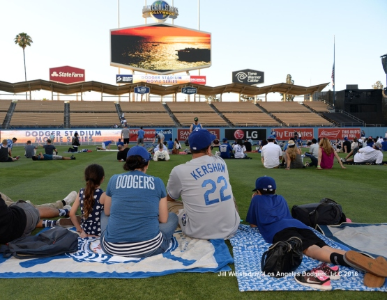 "After the game fans were allowed on the field to watch the Dodger Stadium Movie Series of ""Top Gun"". Jill Weisleder/LA Dodgers"