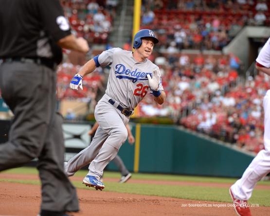 Los Angeles Dodgers Chase Utley heads home during game against the St. Louis Cardinals at Busch Stadium Friday, July 22, 2016 in St.Louis, Missouri.  Photo by Jon SooHoo/©Los Angeles Dodgers,LLC 2016