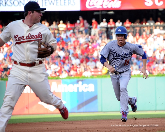 Los Angeles Dodgers Kenta Maeda takes third during game against the St. Louis Cardinals at Busch Stadium Saturday, July 23, 2016 in St.Louis, Missouri.  Photo by Jon SooHoo/©Los Angeles Dodgers,LLC 2016