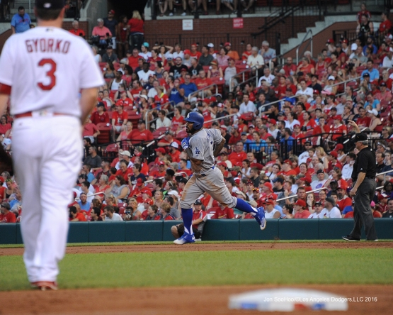 Los Angeles Dodgers Howie Kendrick homers during game against the St. Louis Cardinals at Busch Stadium Sunday, July 24, 2016 in St.Louis, Missouri. Photo by Jon SooHoo/©Los Angeles Dodgers,LLC 2016