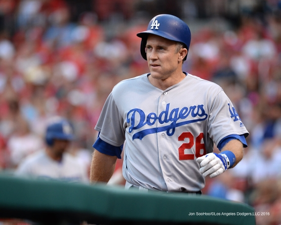 Los Angeles Dodgers Chase Utley after scoring during game against the St. Louis Cardinals at Busch Stadium Friday, July 22, 2016 in St.Louis, Missouri.  Photo by Jon SooHoo/©Los Angeles Dodgers,LLC 2016