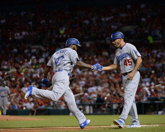 Los Angeles Dodgers Howie Kendrick homers during game against the St. Louis Cardinals at Busch Stadium Friday, July 22, 2016 in St.Louis, Missouri.  Photo by Jon SooHoo/©Los Angeles Dodgers,LLC 2016