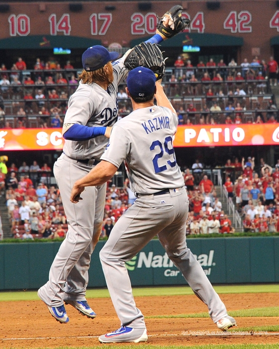 Los Angeles Dodgers Justin Turner and Scott Kazmir during game against the St. Louis Cardinals at Busch Stadium Sunday, July 24, 2016 in St.Louis, Missouri. Photo by Jon SooHoo/©Los Angeles Dodgers,LLC 2016