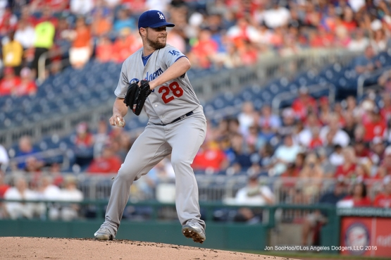 Los Angeles Dodgers Bud Norris during game against the Washington Nationals Wednesday, July 20, 2016 at Nationals Park in Washington,DC. Photo by Jon SooHoo/©Los Angeles Dodgers,LLC 2016