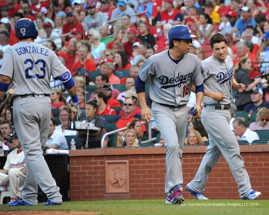 Los Angeles Dodgers Kenta Maeda and Corey Seager score during game against the St. Louis Cardinals at Busch Stadium Saturday, July 23, 2016 in St.Louis, Missouri.  Photo by Jon SooHoo/©Los Angeles Dodgers,LLC 2016