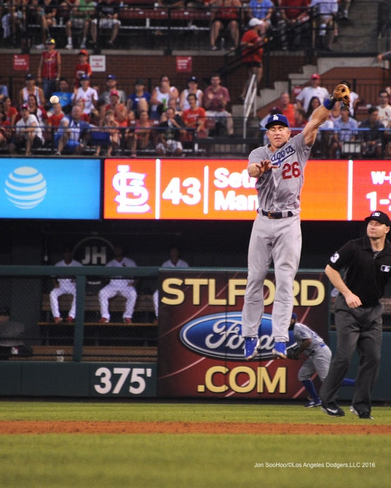 Los Angeles Dodgers Chase Utley can't get to ball during game against the St. Louis Cardinals at Busch Stadium Sunday, July 24, 2016 in St.Louis, Missouri. Photo by Jon SooHoo/©Los Angeles Dodgers,LLC 2016