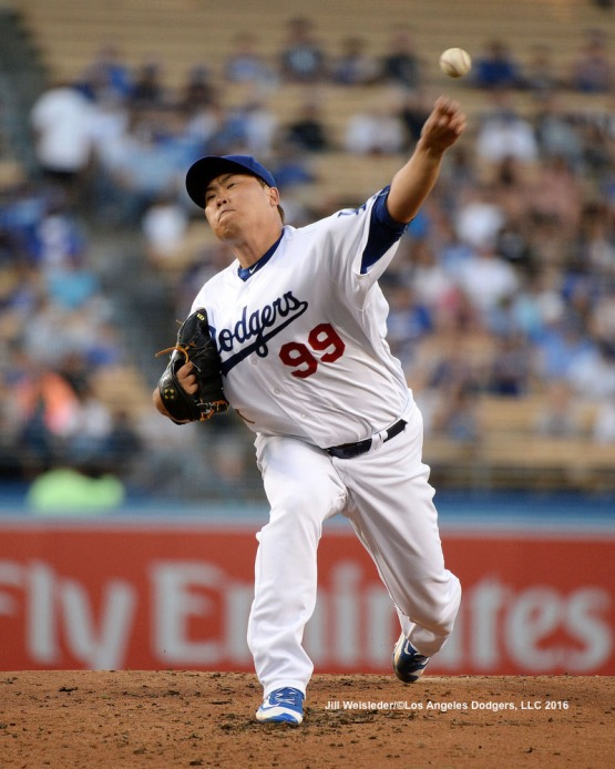 Newly reinstated pitcher Hyun-Jin Ryu throws against the Padres while making his first start on the mound since September 2014. Jill Weisleder/LA Dodgers